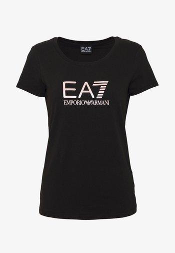 Print T-shirt - black/peach