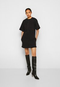 Victoria Victoria Beckham - FRAYED HEM MINI DRESS - Denim dress - black - 4