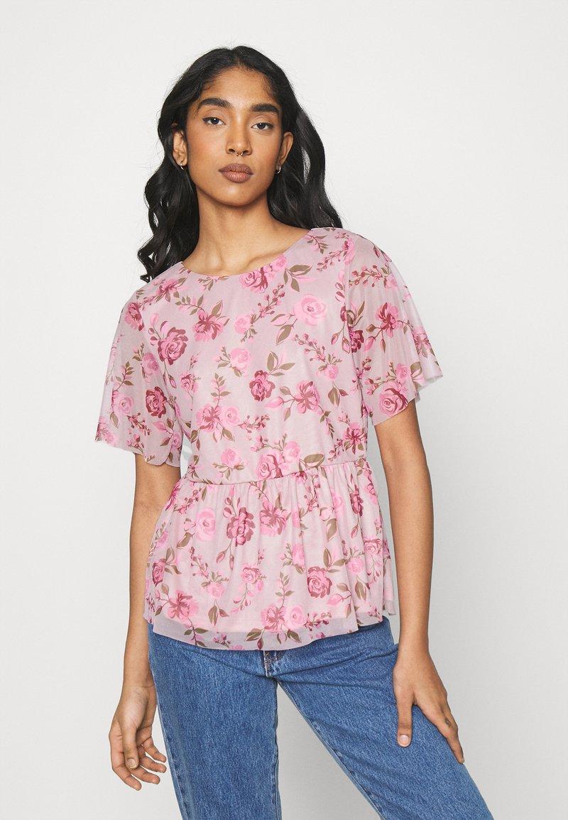 Vila - VIMIRANDA - Print T-shirt - cream pink/rose