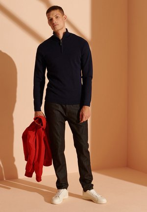 MERINO HENLEY - Sweat polaire - carbon navy