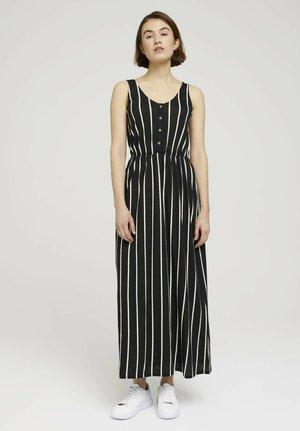 Maxi dress - black beige vertical stripe
