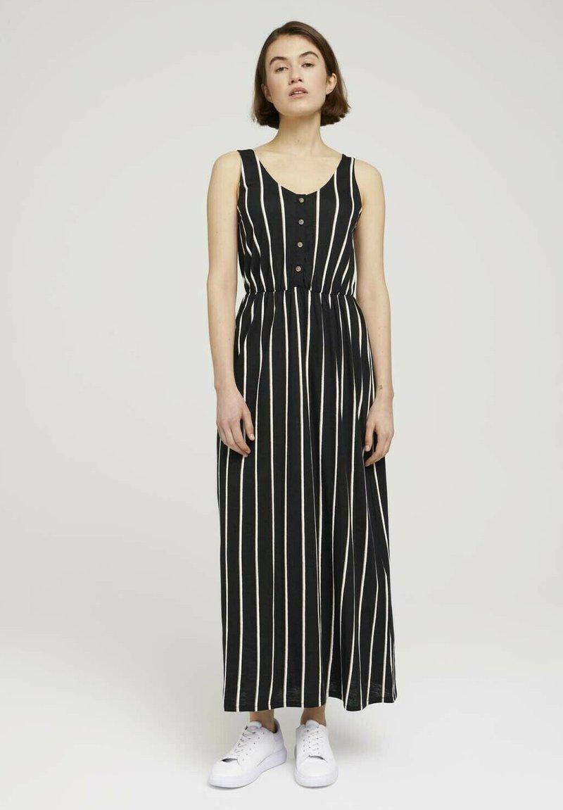TOM TAILOR DENIM - Maxi dress - black beige vertical stripe