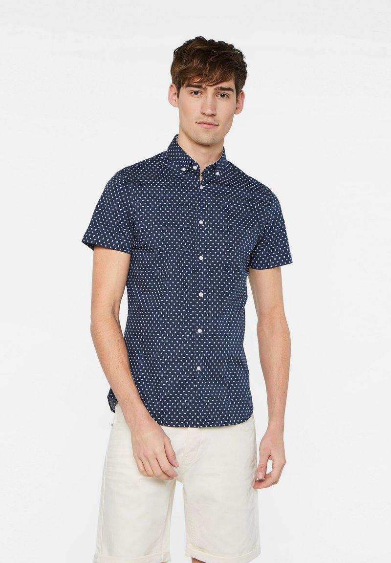 WE Fashion - HERREN-SLIM-FIT-HEMD MIT MUSTER - Shirt - dark blue
