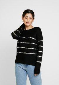 Vero Moda Petite - VMBRANASEQUINS O-NECK - Cardigan - black/silver - 0