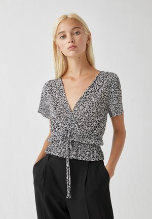 T-shirt con stampa - mottled black