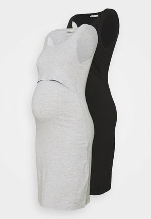 NURSING - 2 PACK - Jersey dress - Jerseykjoler - black/light grey