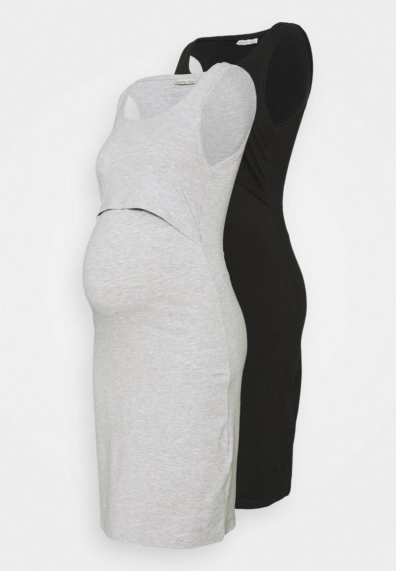 Anna Field MAMA - NURSING - 2 PACK - Jersey dress - Jersey dress - black/light grey