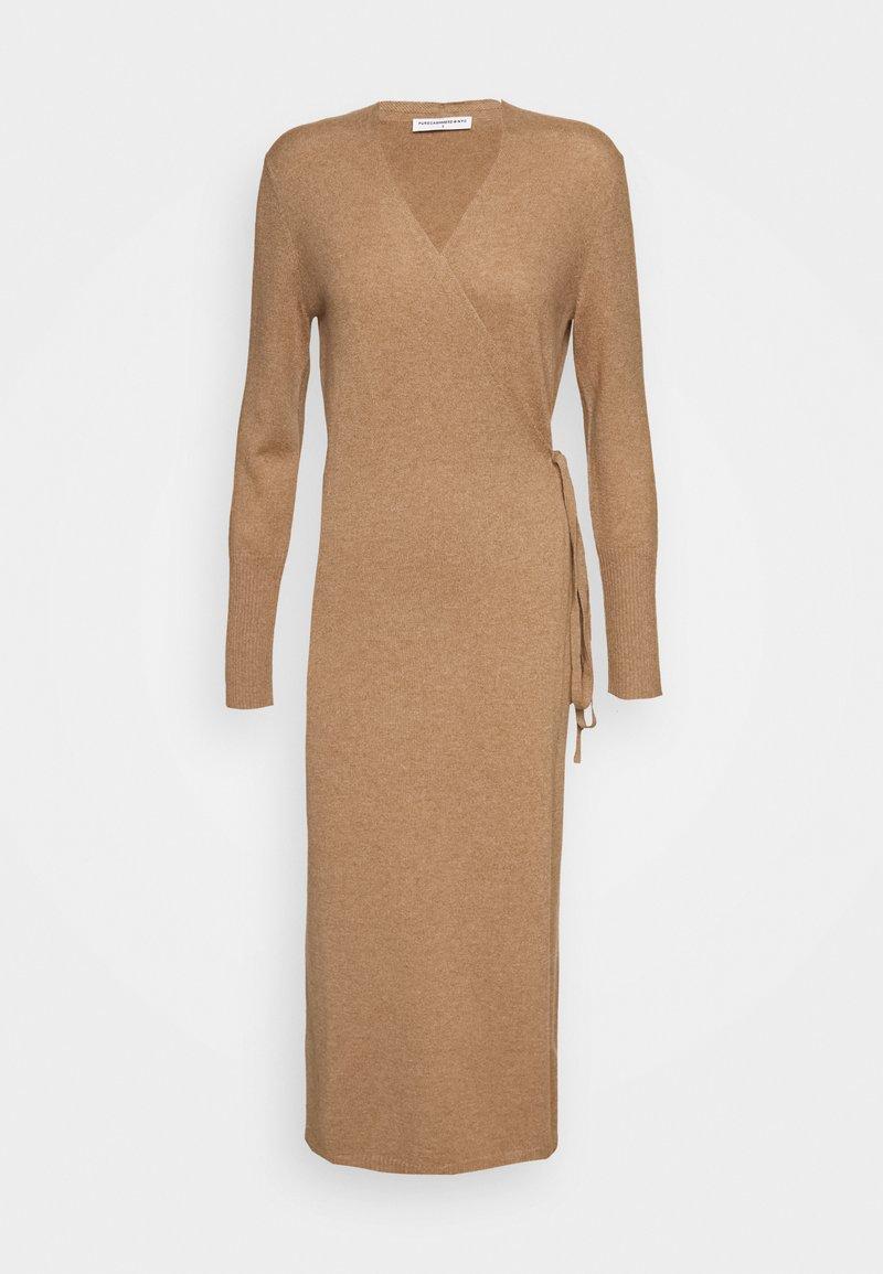 pure cashmere - WRAP DRESS - Jumper dress - dark beige
