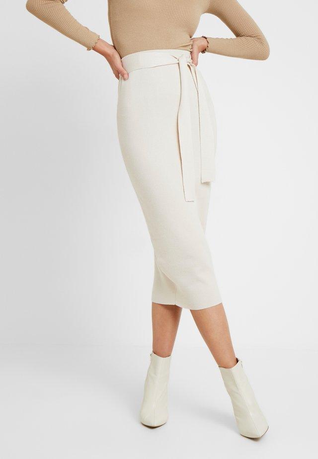 TIE WAIST MIDI SKIRT - Pencil skirt - cream