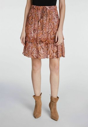 MIT PRINT - Pleated skirt - red yellow