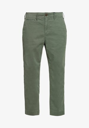 HIGH RISE STRAIGHT - Trousers - olive
