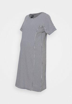 ROLL CUFF ZIP ACCESS NURSING DRESS - Jumper dress - navy/white
