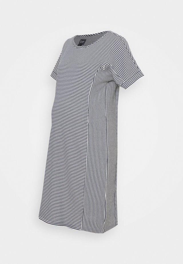 ROLL CUFF ZIP ACCESS NURSING DRESS - Strikkjoler - navy/white