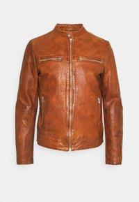 Goosecraft - KYLL BIKER - Kožená bunda - dark cognac - 6