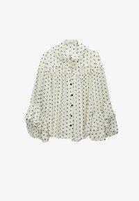 Uterqüe - MIT LAMÉFÄDEN - Button-down blouse - beige - 6