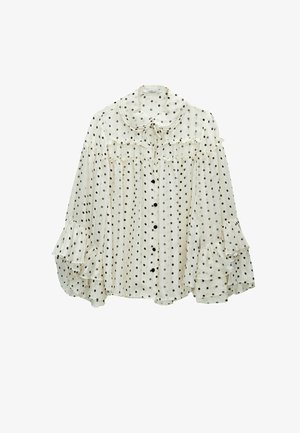 MIT LAMÉFÄDEN - Button-down blouse - beige