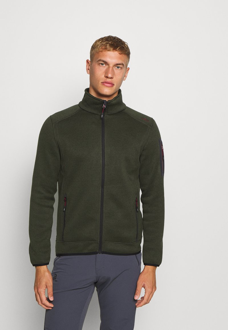 CMP - MAN JACKET - Fleecová bunda - oil green/burgundy