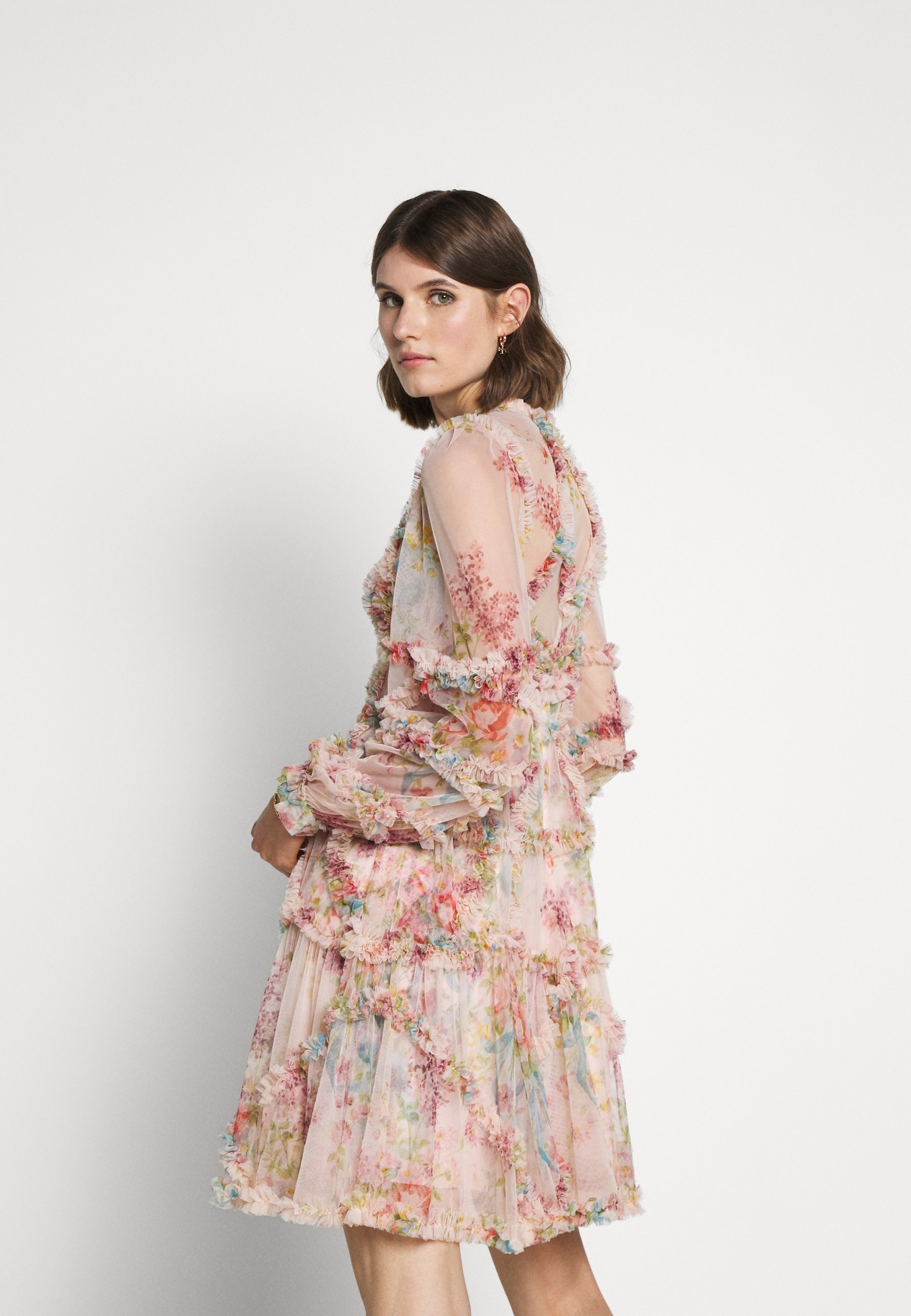 Needle & Thread FLORAL DIAMOND RUFFLE DRESS Cocktailkleid/festliches Kleid topaz pink/pink
