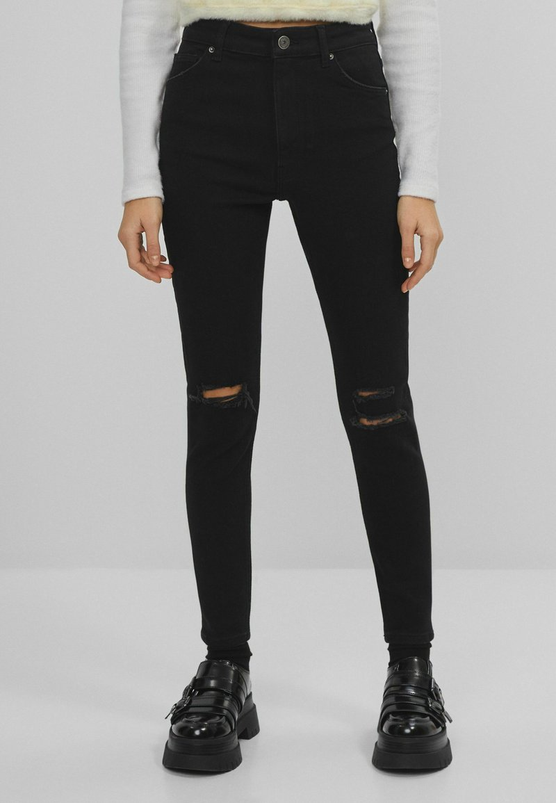 Bershka - SUPER HIGH WAIST - Jeans Skinny Fit - black