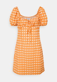 Glamorous - MINI DRESS WITH PUFF SHORT SLEEVES AND LOW SWEETHEART NECKLINE - Vestido informal - rust gingham - 3
