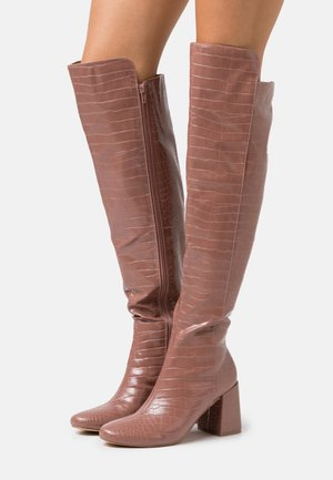 FLARED HEEL BOOT - Over-the-knee boots - pink