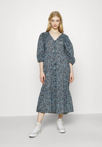 KAIA BUTTON THROUGH DRESS - Shirt dress - black/dusk blue