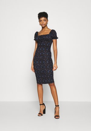CARE RUCHED DRESS WITH PUFF SHORT SLEEVES - Day dress - black
