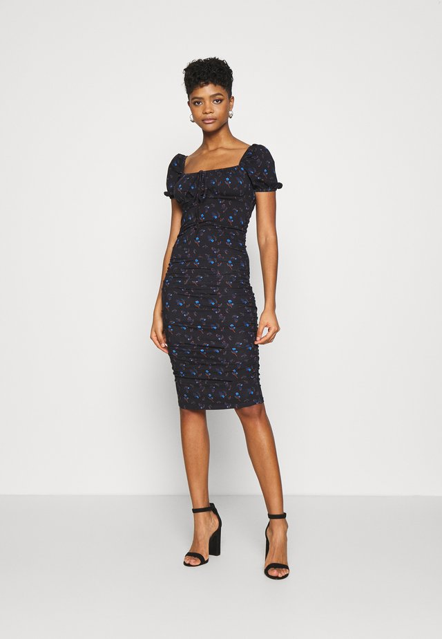 CARE RUCHED DRESS WITH PUFF SHORT SLEEVES - Vestito estivo - black