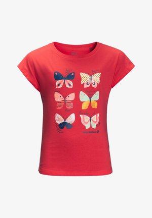 Print T-shirt - tulip red