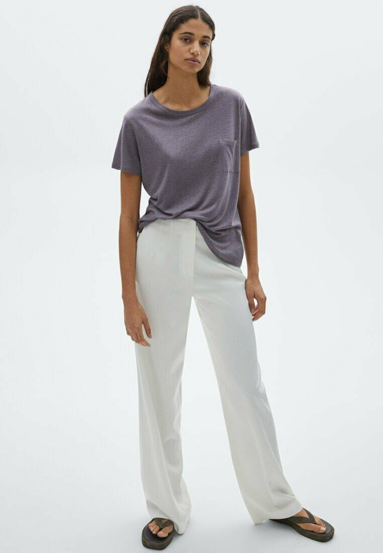 Massimo Dutti - MIT TASCHE - T-shirt imprimé - dark purple