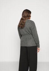 Kaffe Curve - KCWELLY WRAP - Cardigan - dark grey mélange - 2