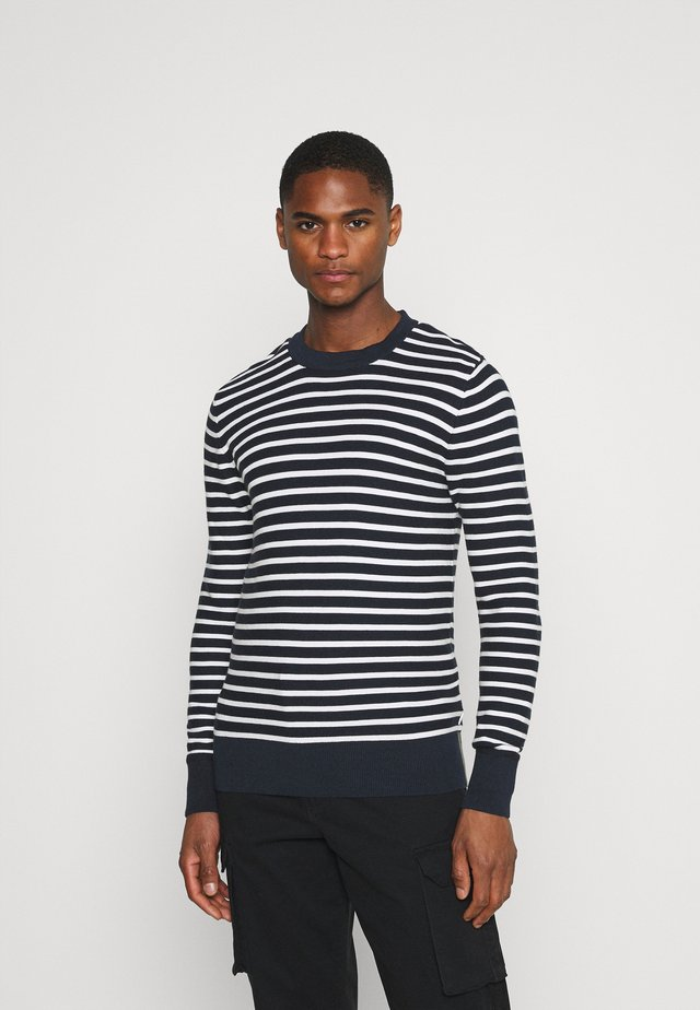 KARLO STRIPED WITH COLOUR DETAILS - Svetr - navy blazer