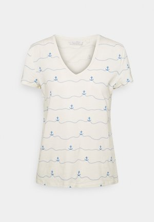 V-NECK TEE - Camiseta estampada - creme