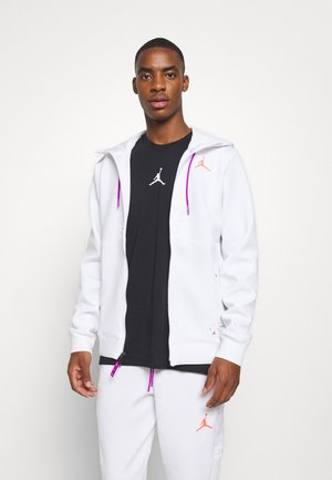 AIR FLEECE FULL ZIP - Mikina s kapucí - white/vivid purple/infrared