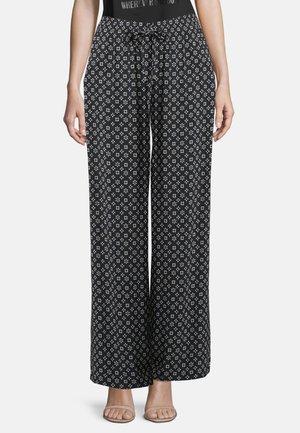 MIT BINDEGÜRTEL - Trousers - dunkelblau/weiß