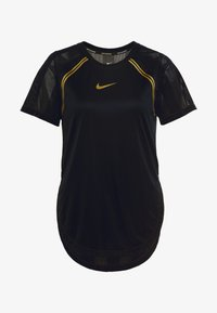 Nike Performance - TOP GLAM - T-shirt z nadrukiem - black/metallic gold - 4