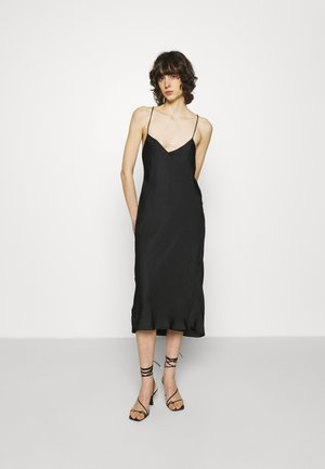 STRAPPY BIAS MIDI SLIP - Cocktail dress / Party dress - black