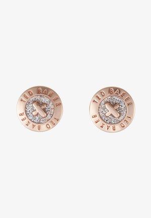 EISLEY ENAMEL MINI BUTTON EARRING - Earrings - rosegold-coloured/silver glitter