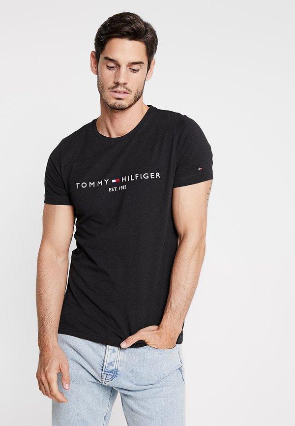 Tommy Hilfiger LOGO TEE - T-shirt z nadrukiem - black/czarny Odzież Męska FSCJ