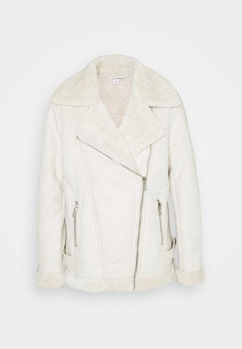LONGLINE AVIATOR - Faux leather jacket - cream