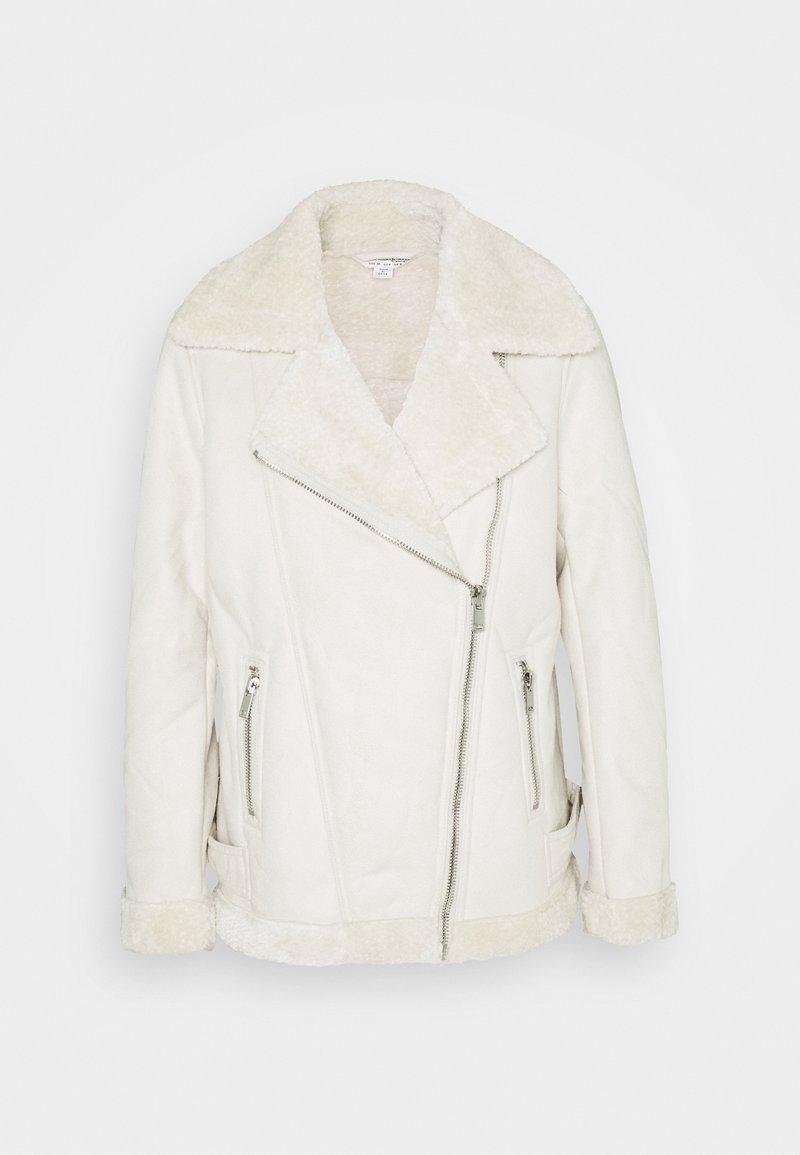 Miss Selfridge - LONGLINE AVIATOR - Faux leather jacket - cream