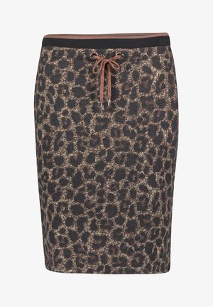 MIT JACQUARD - Pencil skirt - black/taupe