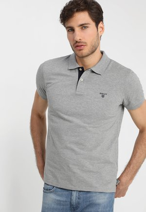 CONTRAST COLLAR RUGGER - Polo - grey melange
