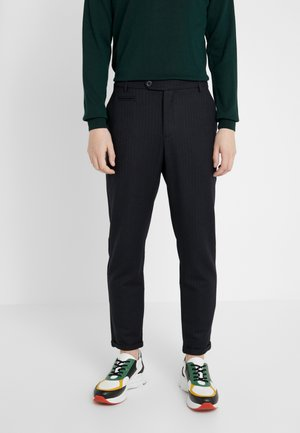 COMO PINSTRIPE PANTS - Suit trousers - dark navy/light brown