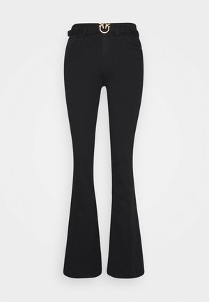 FLORA TROUSERS - Jean flare - black