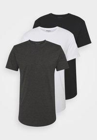 Denim Project - LONGY TEE 3 PACK - Basic T-shirt - black/white/dark grey melage - 0