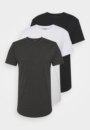 LONGY TEE 3 PACK - T-shirt basique - black/white/dark grey melage