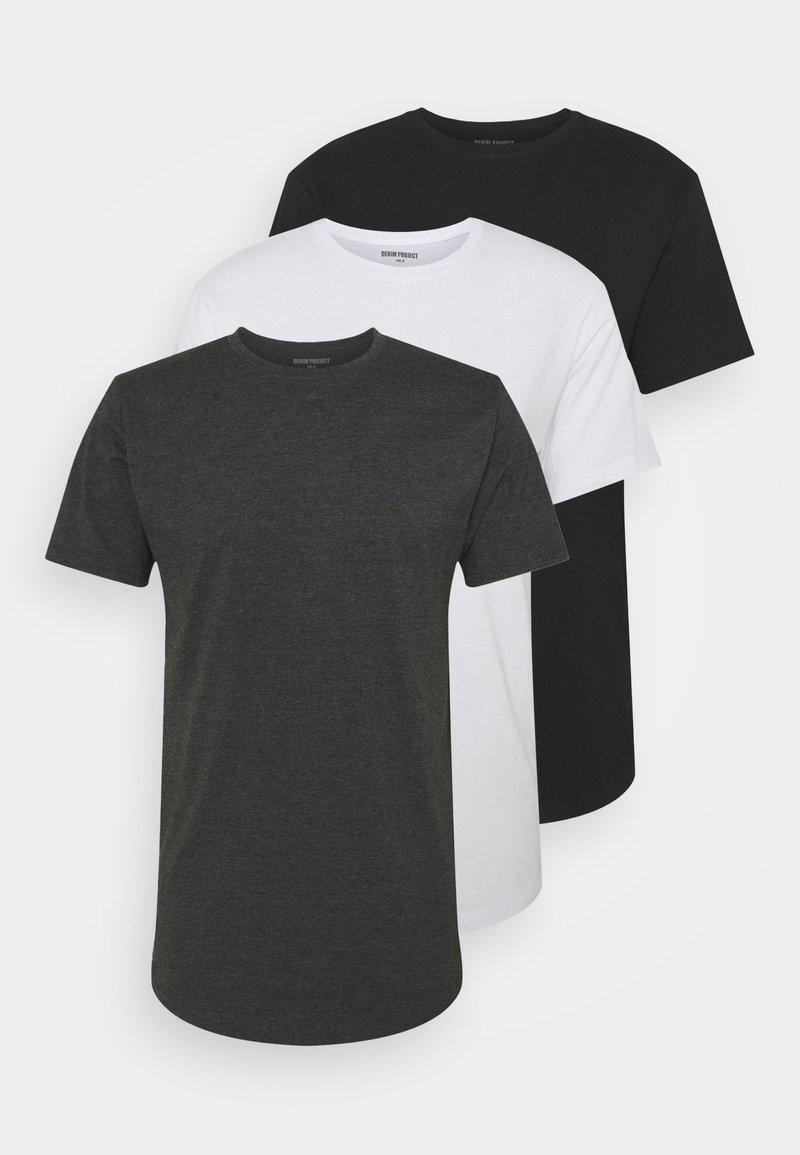 Denim Project - LONGY TEE 3 PACK - Basic T-shirt - black/white/dark grey melage