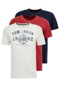 TOM TAILOR - BASIC T-SHIRT 3 PACK - Print T-shirt - blue - 0