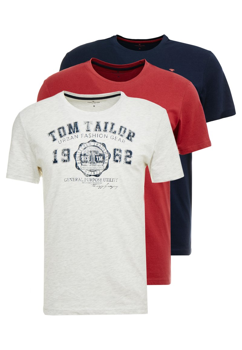 TOM TAILOR - BASIC T-SHIRT 3 PACK - Print T-shirt - blue